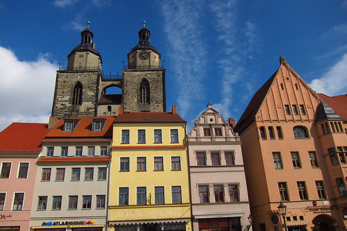 Wittenberg Main Square ~ Town Church Towers Behind