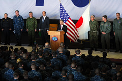 PACIFIC OCEAN (April 4, 2011) Japane Defense Minister Toshimi Kitazawa addresses Sailors and Marines during an all hands call in the hangar bay of the aircraft carrier USS Ronald Reagan (CVN 76). (U.S. Navy photo by Mass Communication Specialist 3rd Class Dylan McCord/Released)