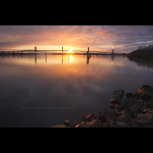 reflection sunrise river dawn britishcolumbia wideangle april fraserriver hdr barnstonisland riverscape barnston canonef1740mmf40lusm goldenearsbridge kvdl