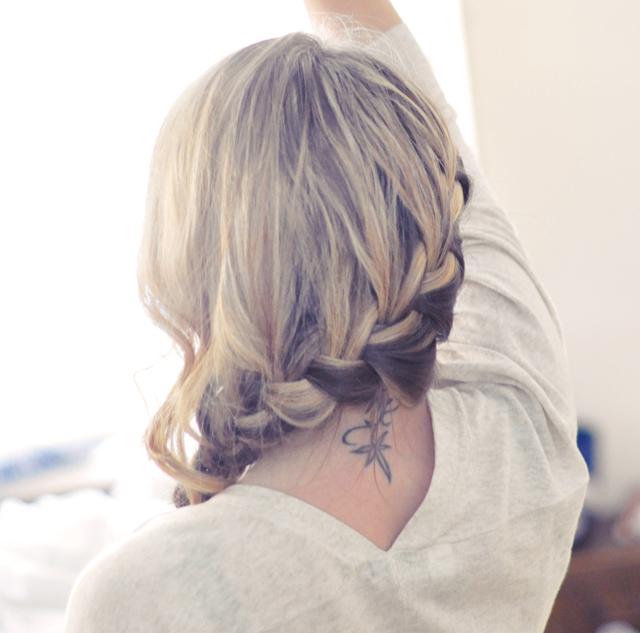 side french braid into a low side braid