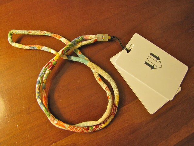 kimono fabric lanyard for my key cards