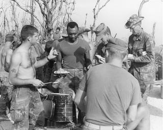Marines enjoying Easter dinner, 6 April 1969
