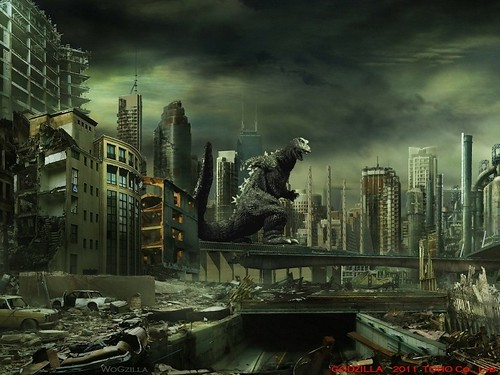 Destroyed_City and Godzilla