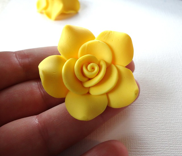 Large Lemon Yellow Polymer Clay Rose Beads Flickr