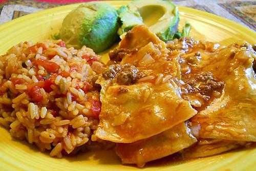 Homemade enchiladas and Mexican Rice