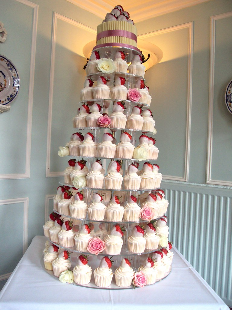 Strawberry & White Chocolate Wedding Cupcake Tower - a photo on ...