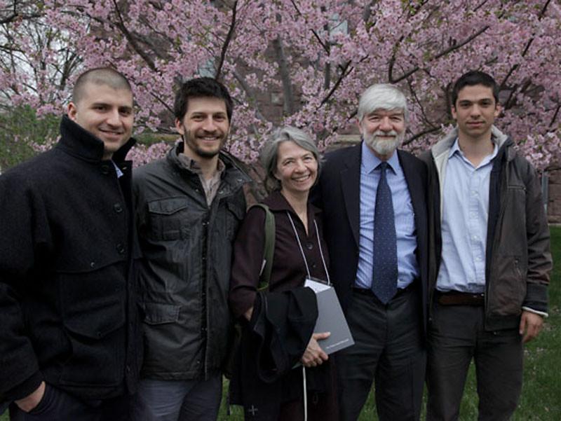 Grandsons Thomas Yagoda and Nick Yagoda, daughter Toni Isard Yagoda, son Peter Isard, and grandson Jeremy Isard.