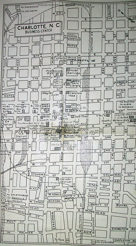 Map of Downtown Charlotte 1954, Map by Dolph Map Co., picture via flickr by davecito