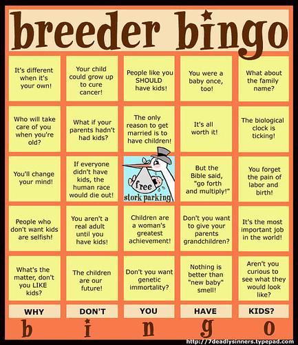 Breeder Bingo card