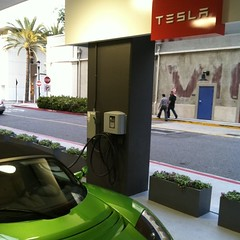 Only in California: free electricity for your Tesla while you shop.
