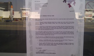 Closure notices on the doors at Pacific Plaza