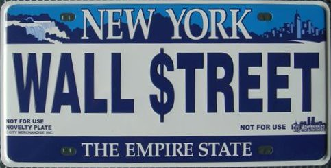 New York Wall Treet Vanity License Plate