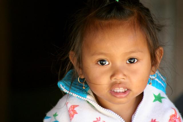 Portrait of a little girl in Siam Riep, Cambodia.