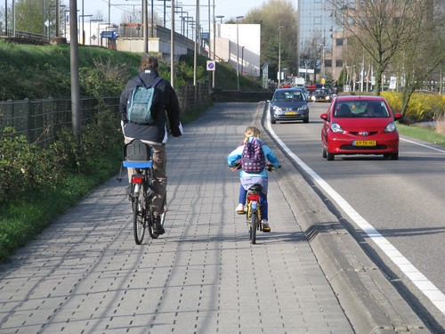 Bike path alongside road