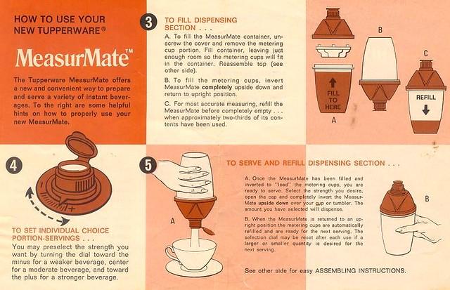 Tupperware MeasurMate instructions-1972