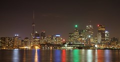 Toronto night skyline from Polson Pier