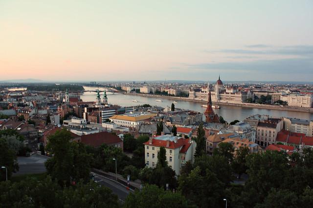 sunset, budapest