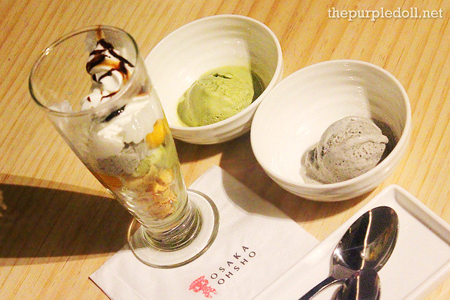 Japanese Parfait with Homemade Ice Cream (P280) and Homemade Japanese Ice Cream (P125 per scoop)