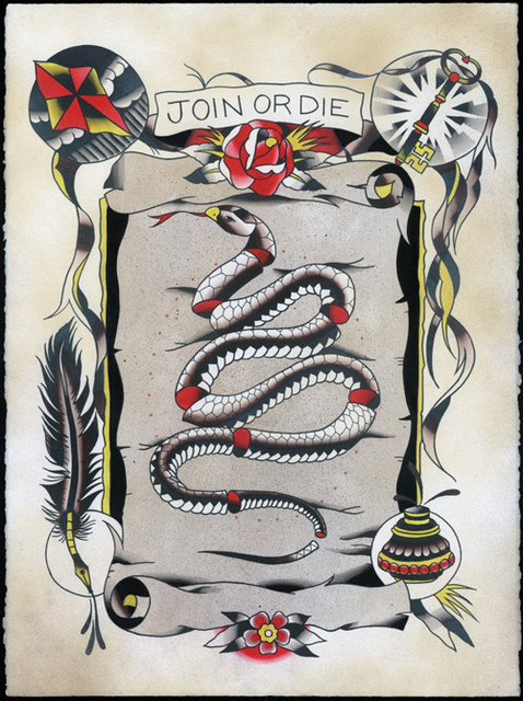 Mike ski design tattoo painting for Join or die tattoo