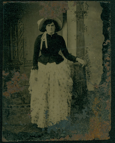 Woman in flowered skirt