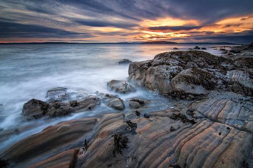 seattle sunset sea sky seascape beach water rock clouds washington sand rocks shelf shore alki pugetsound