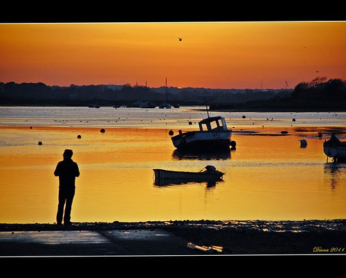 ocean sunset sea orange sun nature boats mudeford colorphotoaward bestcapturesaoi mygearandme bestofblinkwinners