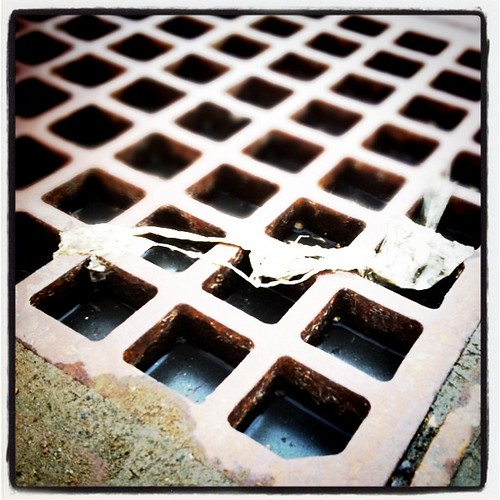 water in the storm drain grate