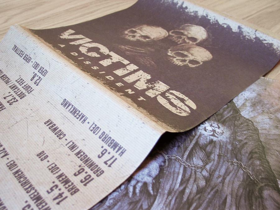 Gestaltung eines Siebdruckcovers für die VICTIMS Release Shows 2011 auf Basis des bestehenden Albumcovers