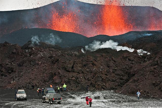 Volcano party at Fimmvörðuháls, south Iceland