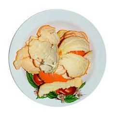Tangerine peel on a plate