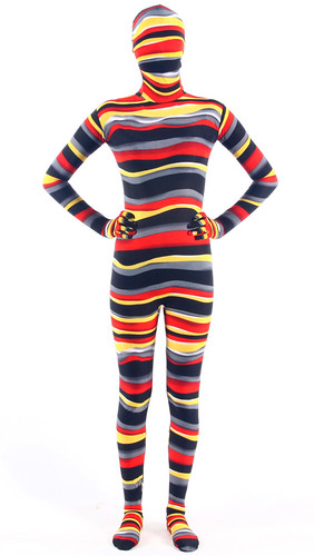 Orange-Red-Brown-Colorful Strips Zentai Suit