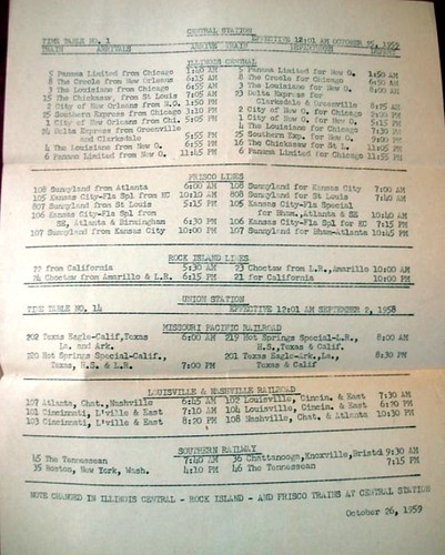 1959 train schedule for Central Station and Union Station, Memphis, TN by ⓑⓘⓡⓒⓗ from memphis