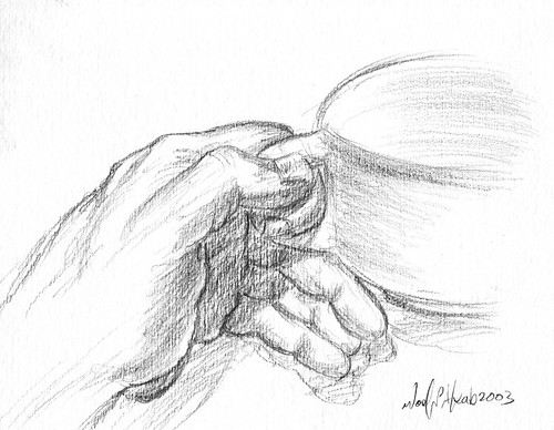 Drawing of Hands Holding Hand Holding Coffee Cup