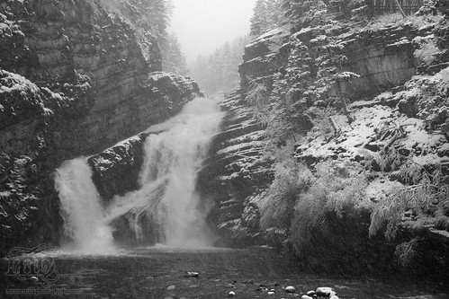 Cameron Falls during snow squall