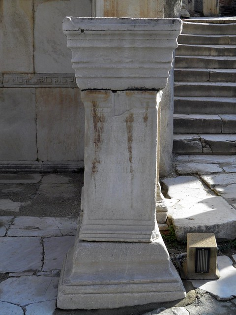 Base which originally supported statues of emperors (Galerius, Maximianus, Diocletianus, and Constantius Chlorus), Temple of Hadrian, Ephesus, Turkey