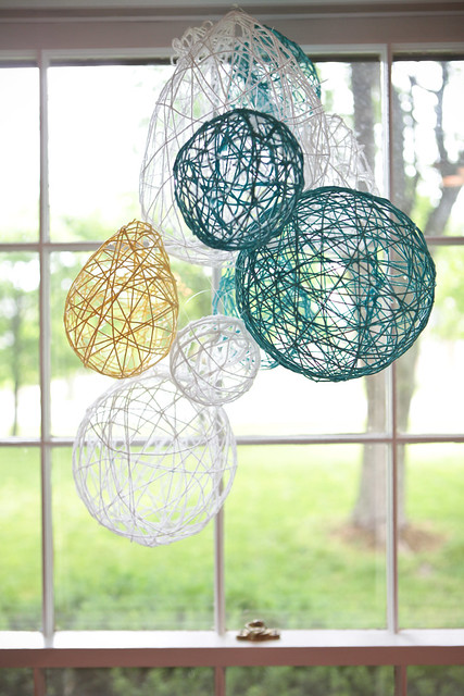Homemade Yarn Chandelier
