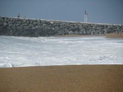 snow(0.0), ocean(0.0), mudflat(0.0), beach(1.0), sand(1.0), sea(1.0), salt evaporation pond(1.0), breakwater(1.0), wind(1.0), wave(1.0), shore(1.0), coast(1.0),