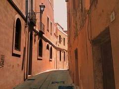 A salmon-colored alley