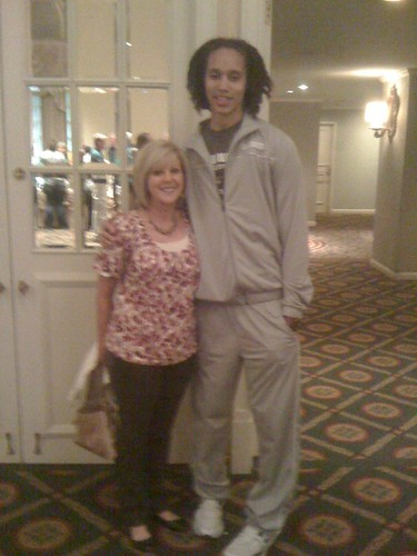 "Jenn's mom with Brittany Griner, 6'8"" Soph. Baylor Lady Bears BBall player."