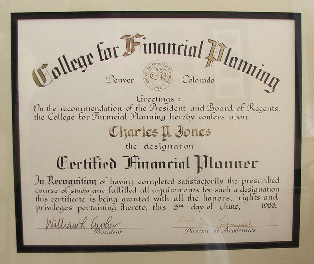 College For Financial Planning Certificate Chuck Jones Associates Inc