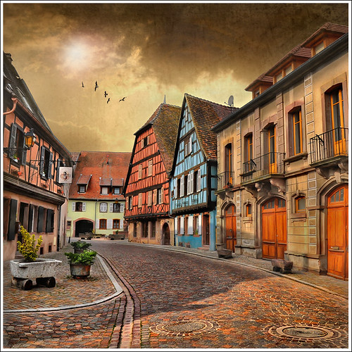 road sunset sky house france home architecture clouds photoshop painting way landscape village nobody colmar alsace ruelle paysage maison rue picturesque hdr tourisme patrimoine colombages pitoresque routedesvins patrimony pavels idream priaux impressedbeauty kientzheim vanagram mygearandme