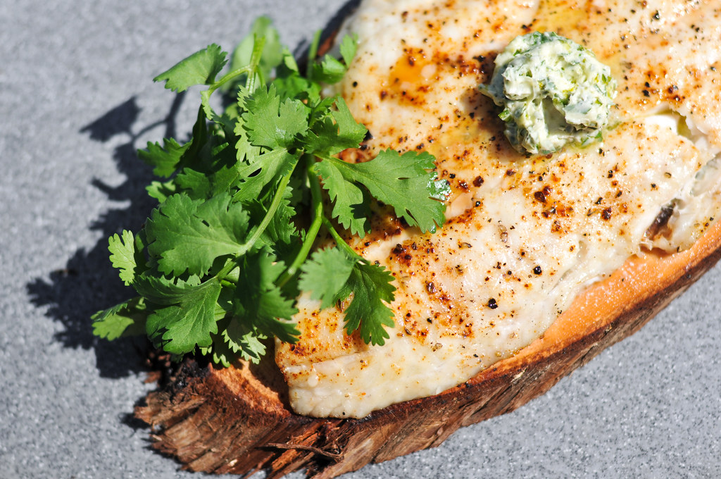 Planked Flounder with Cilantro-Lime Butter