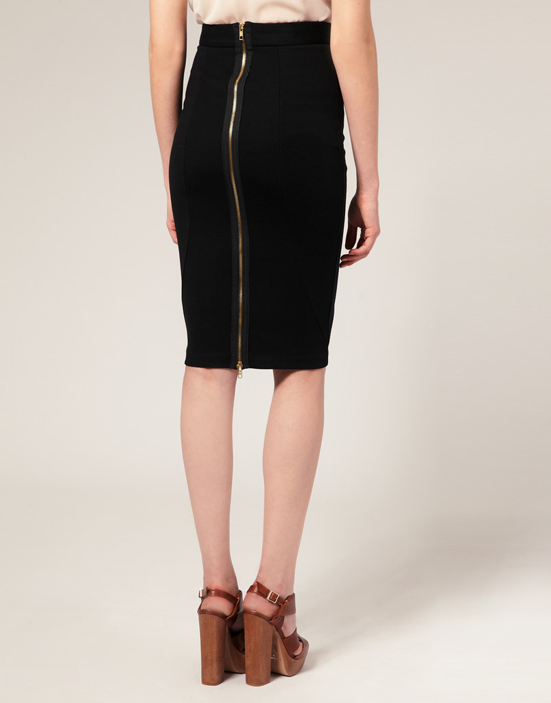 asos exposed zip back ponti pencil skirt a photo on