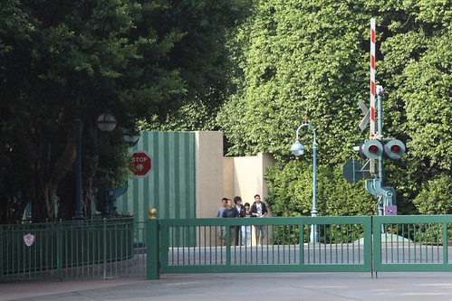 Railroad level crossing on the Hong Kong Disneyland backlot