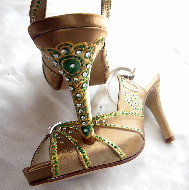 Bridal Shoes India: Wedding Golden Sandals, Painted Indian Emerald Design On P