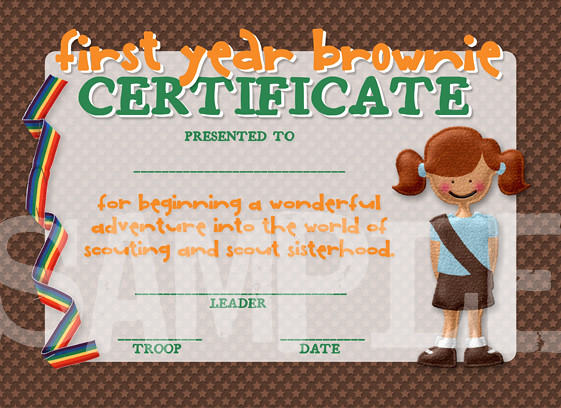 Brownie Girl Scout Certificate Printable