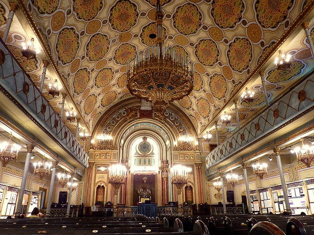 Interior of the great synagogue (Synagoga Mare) in Bucharest