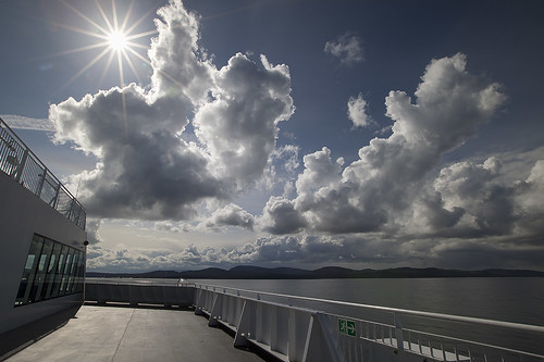 ocean sea sun canada motion blur sunshine vancouver clouds relax spring scenery afternoon relaxing shapes noone bluesky victoria deck sunburst shape silky slowmotion bcferry sunstar deckview beautifulbritishcolumbia amazingclouds shapeofclouds canoneos5dmarkii silkyocean