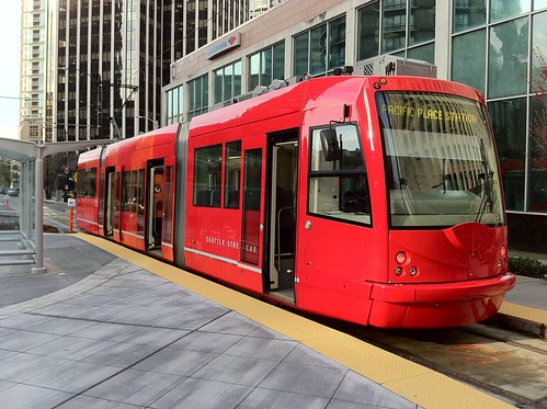 Seattle streetcar at Pacific Place Station