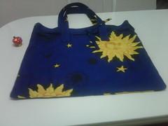 bag, art, textile, yellow, handbag, tote bag, blue,
